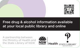 Back of pocket card  - drug info @ your library