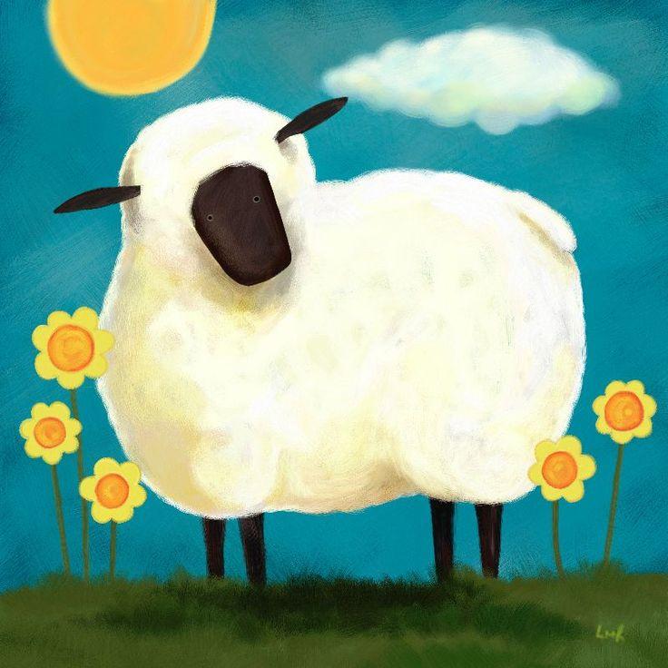 Fluffy White Sheep by lisamarierobinson  A cute folk art style whimsical white sheep standing in a field between yellow flowers. Fun children's art.