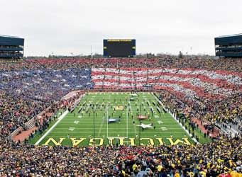 TheUniversity of Michigan's campus adds to the ambiance of a lively downtown. Every Fall, football fans flock to Michigan Stadium, - aka 'The Big House' - one of the largest stadiums in the world.