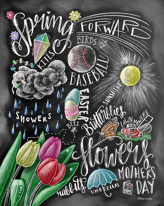 Spring Decor Spring Word Art Spring Art Chalkboard by TheWhiteLime