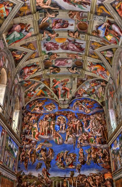 Beautiful and amazing Sistine Chapel work by Michaelangelo.  Rome, Italy places I have been