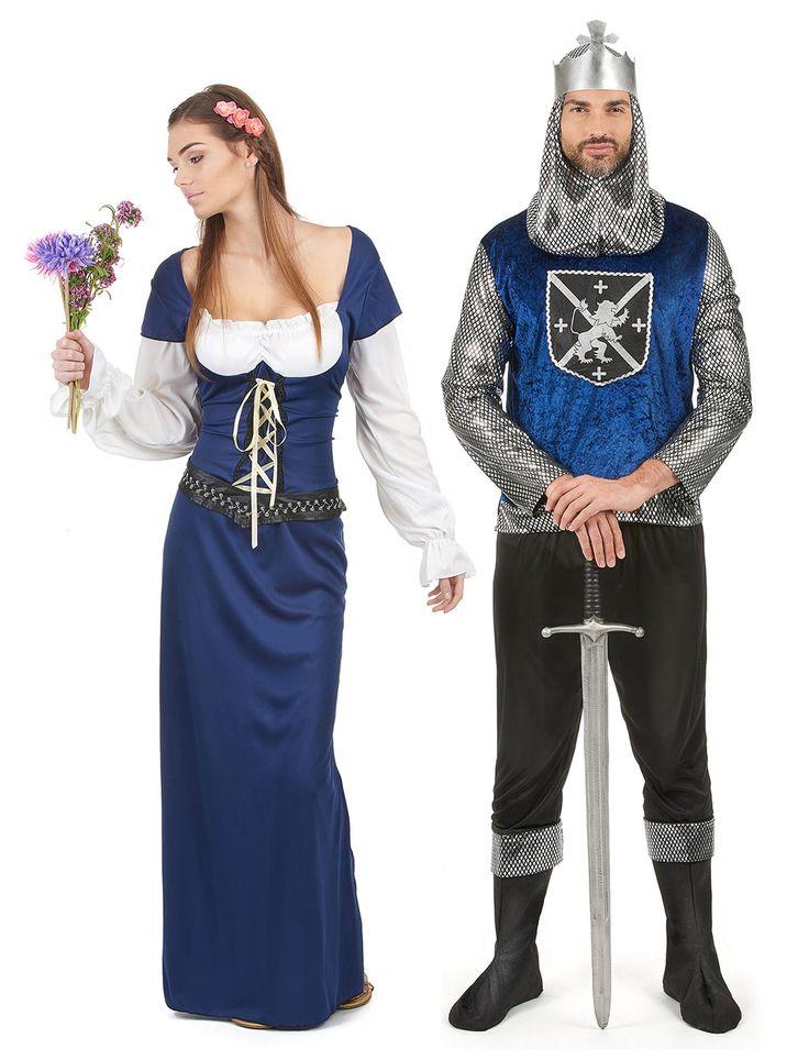 Costume coppia medievale blu adulto: a Carnevale o per una sfilata storica medievale, siate la coppia più bella ed elegante con questi splendidi abiti da dama medievale e cavaliere di colore blu!