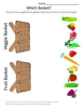 Fruit and Vegetable Worksheet Set.