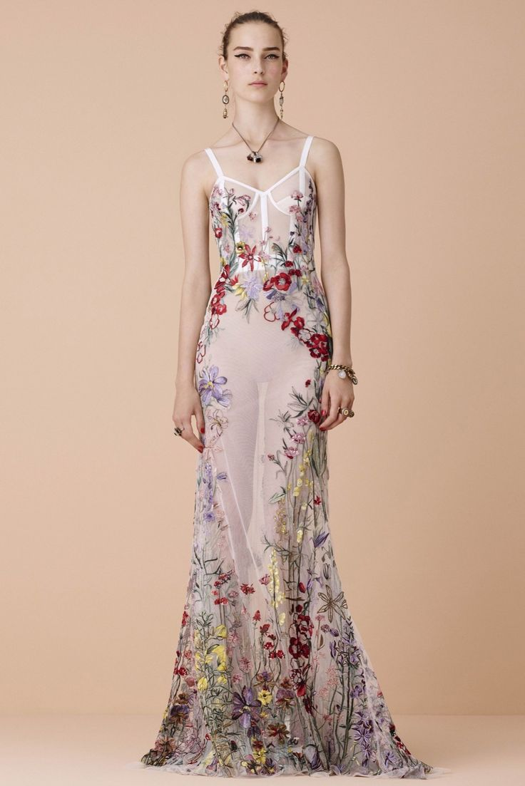 This dress is a beautiful spring flower garden in a dress. I love it. Although you'd need a lining so the world didn't see your own flower garden, if you know what I'm sayin'.   Alexander McQueen Resort 2016 Fashion Show