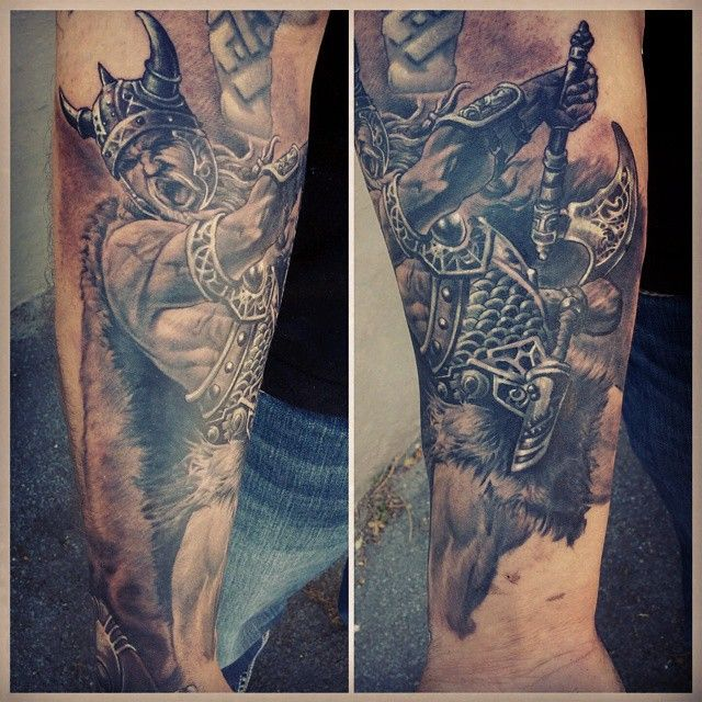 Black and grey viking sleeve tattoo jamie henderson 39 s for Viking tattoo sleeves