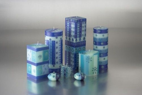 Hand Painted Blue & Green Candle Collection #handmadecandles #giftswithacause #candles #homedecor