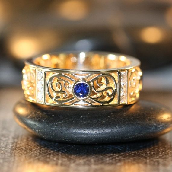 Celtic Wedding Ring 14k Yellow Gold Bezel Set Sapphire Diamond Wedding Band for Him Unique Man Anniversary Ring (Other Metal Available)
