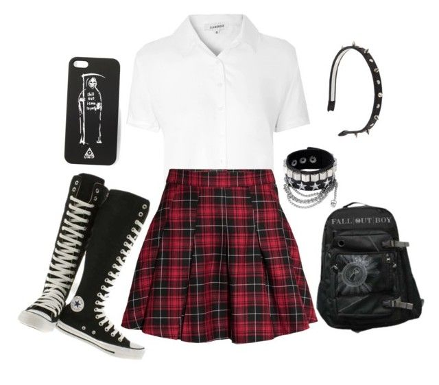 """Untitled #482"" by fairyvampirewitchgirl72 ❤ liked on Polyvore featuring Converse, Glamorous and H&M"