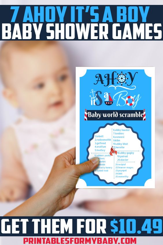 Beautiful Ahoy It's a Boy Baby Shower Games that your guests will love.    You can get these games now FOR ONLY $10.49!  Check out our website for other colorful Baby Shower Printables & items to throw Amazing Baby Shower Parties. #BabyShower #BabyShowerGames #DIY