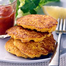 Sweet Corn and Shrimp Cakes - Makes a great snack! You kids may love it!
