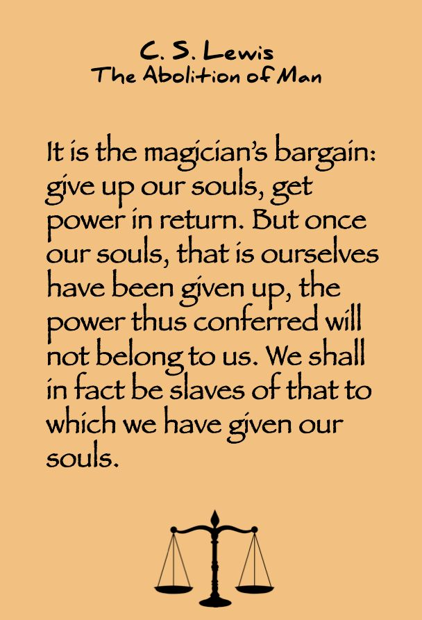 C. S. Lewis quote on giving up your soul.