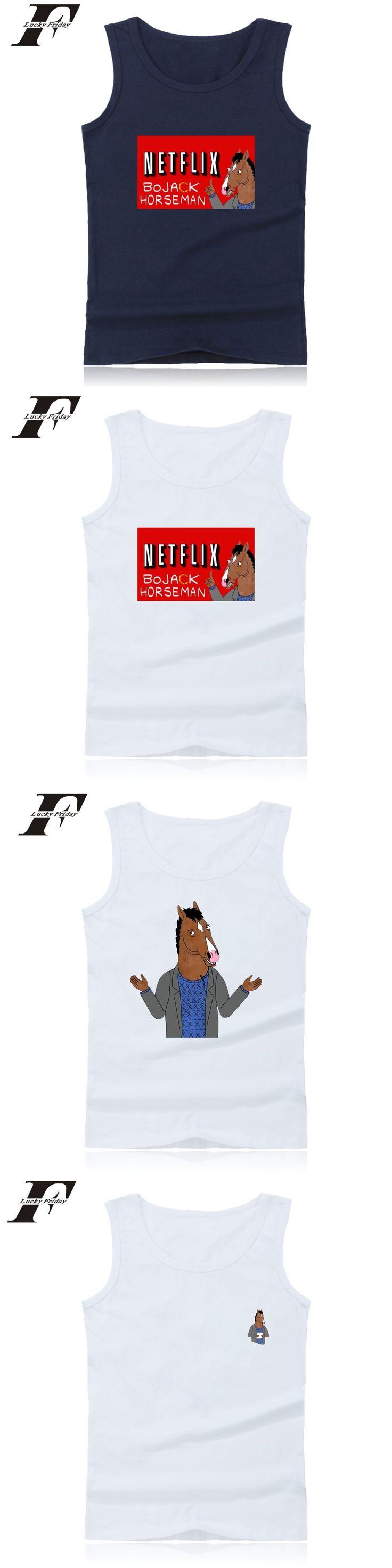 LUCKYFRIDAYF  shirt BoJack Horseman fitness Bodybuilding Tank Top Soft vest Cotton Funny  shirt Summer colete 4xl