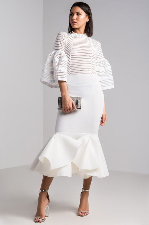 e874cda6211c Front View Linear Appeal Scuba Midi Dress in White   À acheter in ...