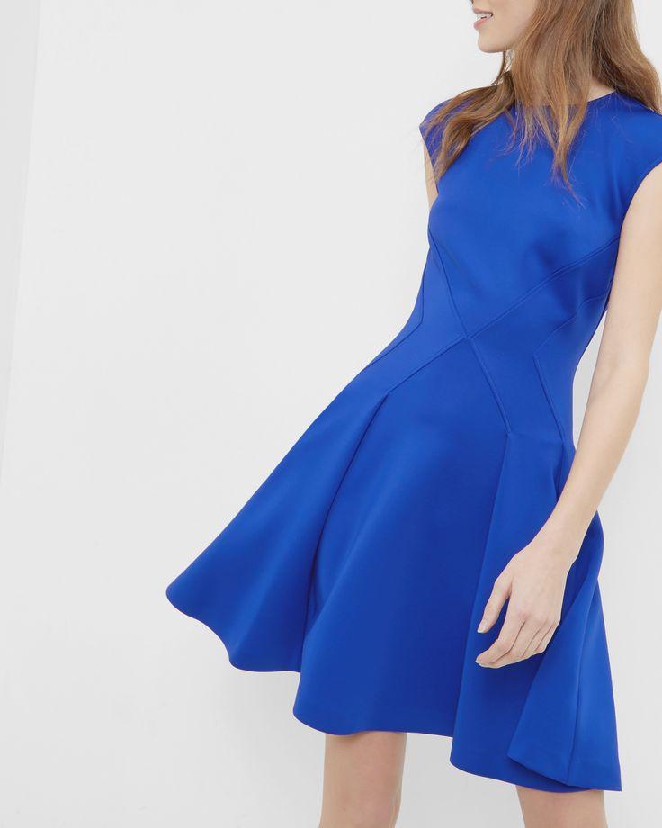 Pleated skater dress - Bright Blue   Dresses   Ted Baker UK