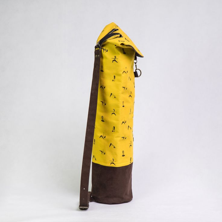 yellow yoga mat bag + screen printed pattern