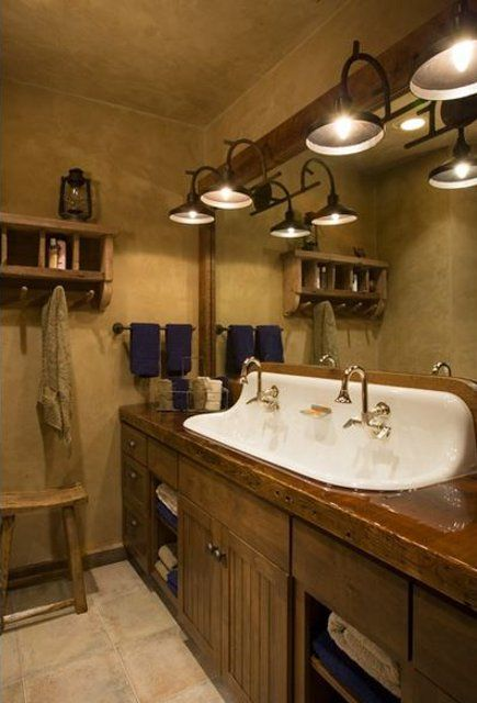 .Bathroom Design, Lights Fixtures, Rustic Bathrooms, Bathroom Ideas, Bathroom Sinks, Master Bath, Bathroom Interiors Design, Farmhouse Sinks, Design Bathroom