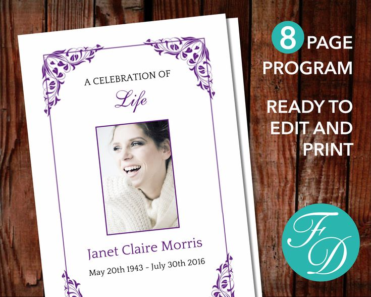 52 Best Purple Funeral Programs Images On Pinterest Funeral