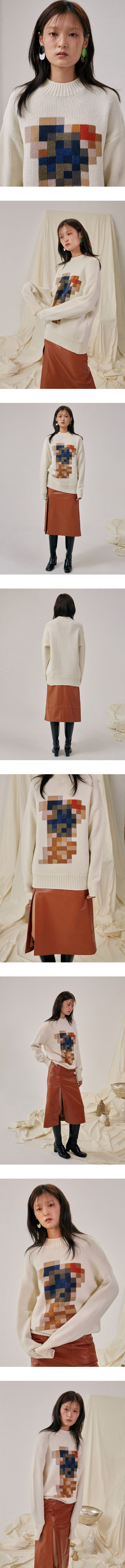 Block knit pixellated cream jumper inspiration