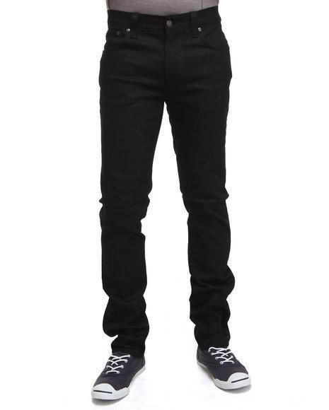 The Thin Finn Organic Black Ring Jeans by Nudie Jeans features: Five pocket design Signature embroidery on rear pockets Slim fit Button and zipper closure Model is wearing size 32x32 More Details
