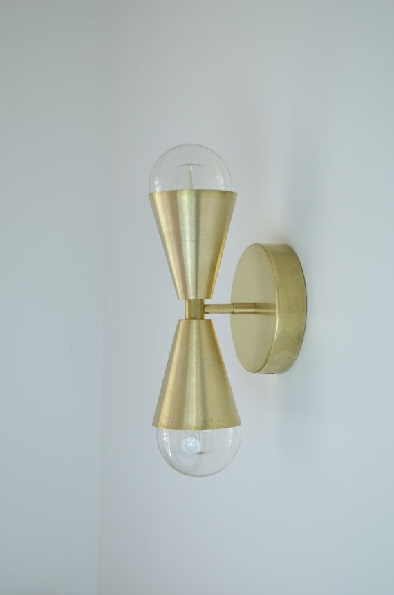 Madonna- No. 8 - Solid Brass Cone light.  Modern mid century wall light lamp with brass cone shades - glass globe bulb