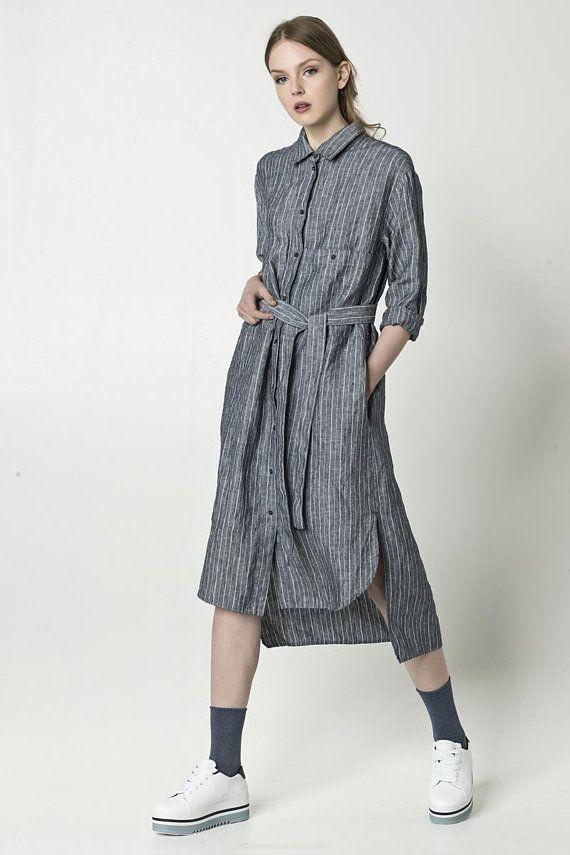 cd3e739d078 NEW Loose linen shirt dress with pockets
