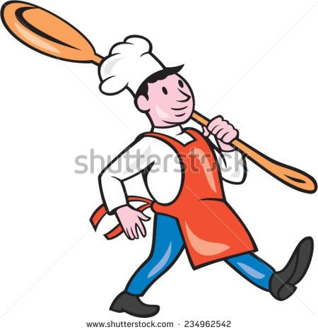 Illustration of a chef cook marching holding spoon over shoulder on isolated white background done in cartoon style. - stock vector #cook #cartoon #illustration