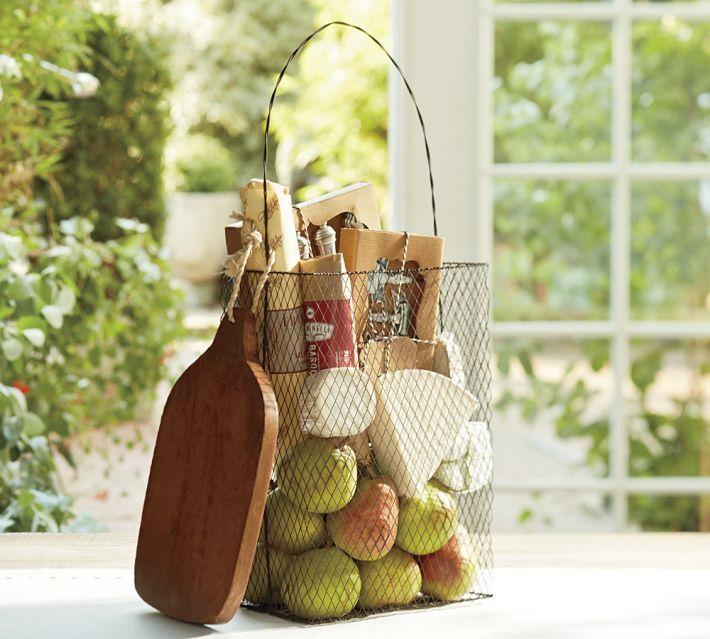 wire bag basket- great housewarming gift idea   potterybarn