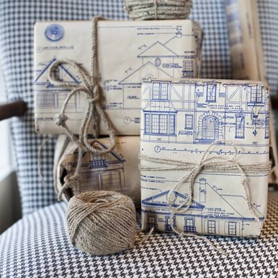 Blueprint Wrapping Paper   Patina Green