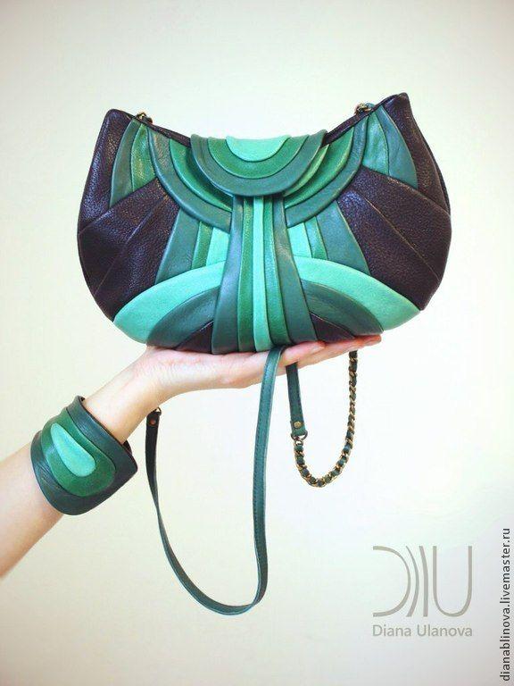 """Купить """"Модерн"""" - в полоску, сумка женская, сумка ручной работы, сумка кожаная, подарок женщине"""