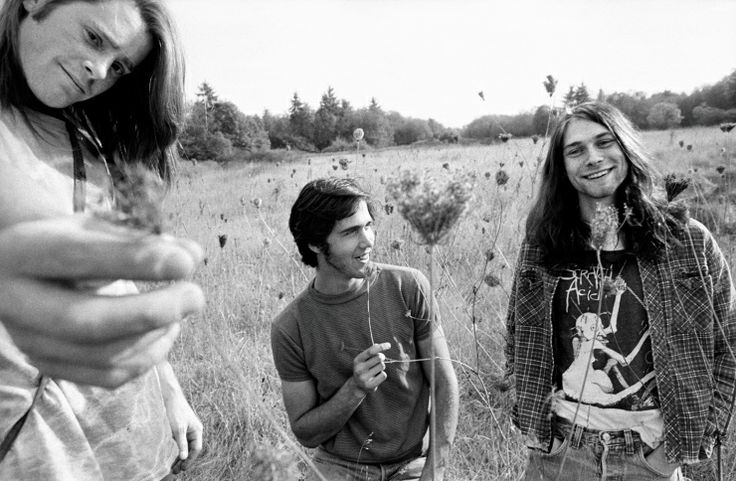 Nirvana in 1988: Drummer Chad Channing (left), bassist Krist Novoselic (middle) and Kurt Cobain (right). Dave Grohl replaced Channing on drums after Nirvana's debut album, Bleach, was released by Sub Pop in 1989.
