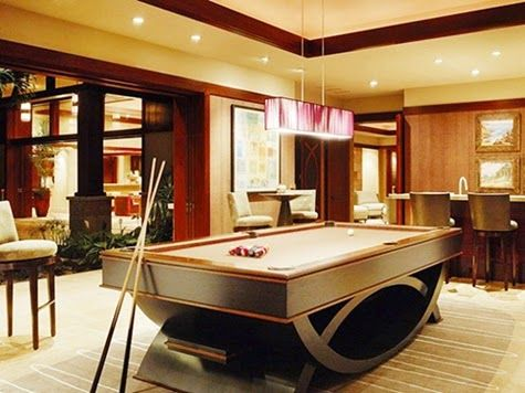 Contemporary Billiard Pool Room Ideas in Living Room with Pendant and Chandelier Lighting