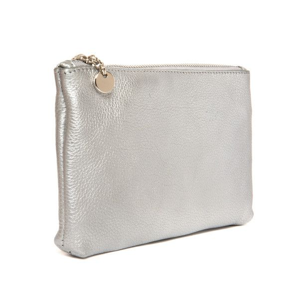 The Touch up Silver Make up bag in calf leather