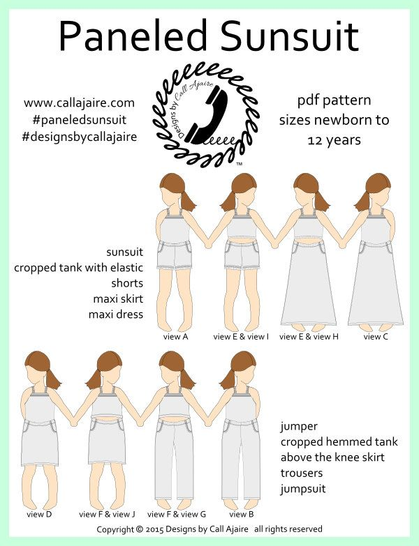 Paneled Sunsuit PDF Pattern sizes nb-12years over 10 view options! - pinned by pin4etsy.com