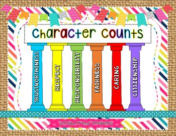 This PDF includes the 6 Pillars of Character: Respect, Responsibility, Fairness, Caring, Trustworthiness, and Citizenship