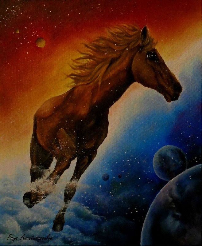 Horse, painting, running,sky,space,universe,planets,equine,eqiestrian,animal,wild,life,wildlife,stallion,colorful,blue,red,brown,colors,dancing,above the clouds,in,on,figurative,unique,artistic,beautiful,cool,awesome,decor,contemporary,modern,virtual,deviant,unique,fine,art,oil,wall art,awesome,cool,image,picture,artwork,for sale,redbubble
