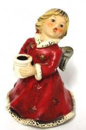 Original Goebel Engel Kerzenhalter im roten Kleid