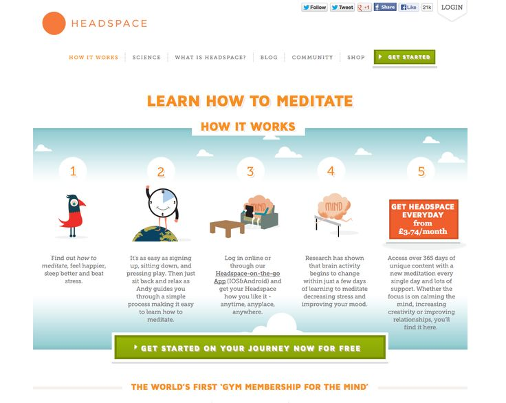 Headspace – simple onboarding – www.getsomeheadspace.com