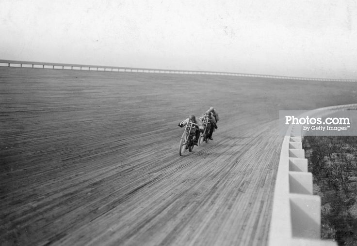 Motorbikes racing at Speedway Park, Maywood, Chicago, Illinois, USA, 1915. print…