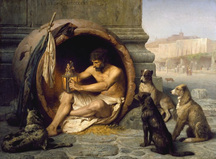 "Diogenes, 1860 by Jean-Léon Gérôme (French 1824-1904).....The Greek philosopher Diogenes (404-323 BC) is seated in his abode, an earthenware tub, in the Metroon, Athens, lighting the lamp in daylight with which he was to search for an honest man. His companions were dogs that also served as emblems of his ""Cynic"" (Greek: ""kynikos,"" dog-like) philosophy, which emphasized an austere existence. ..."