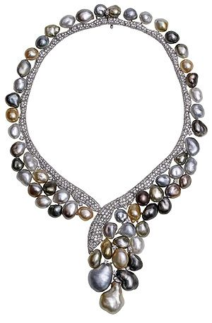 Looks like pebbles in a stream Keshi Necklace with diamonds and pearls, YOKO LONDON from Solitaire Review