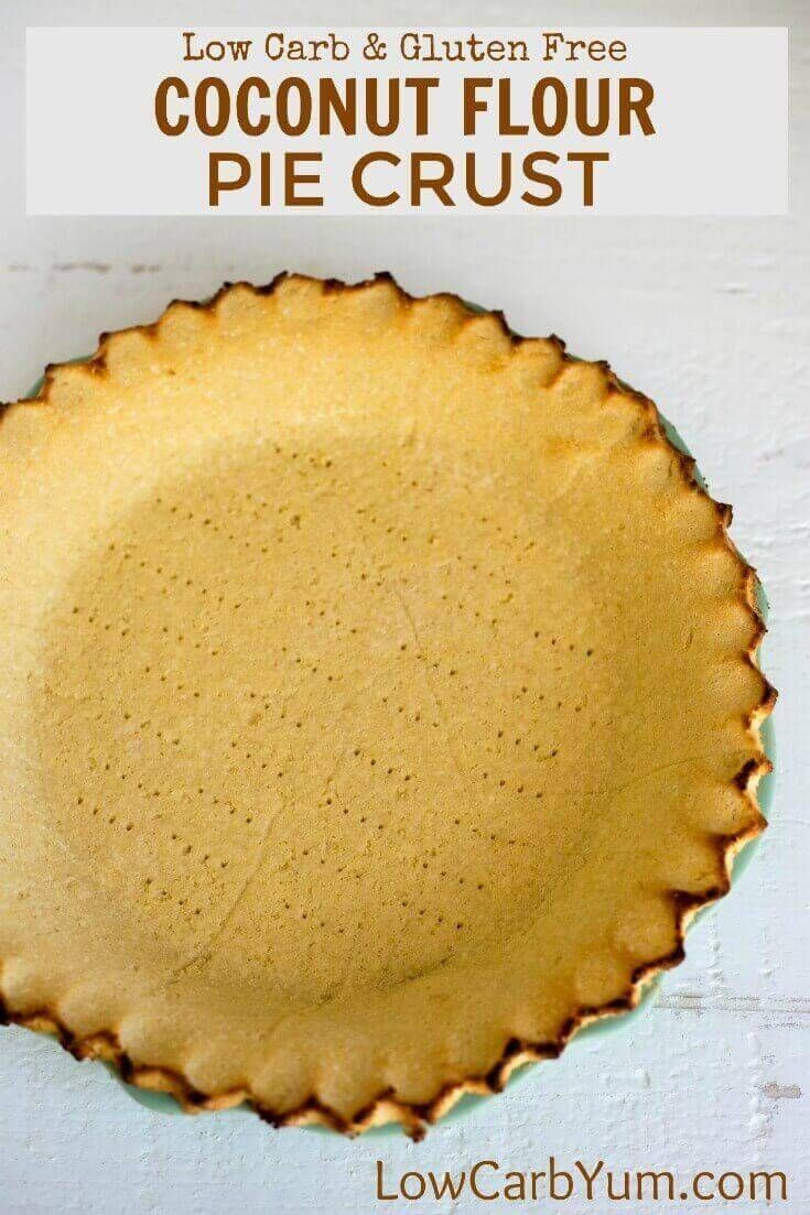Want the perfect low carb pie crust that isn't made with almond flour? Give this simple coconut flour pie crust a try for both sweet and savory pies. | LowCarbYum.com