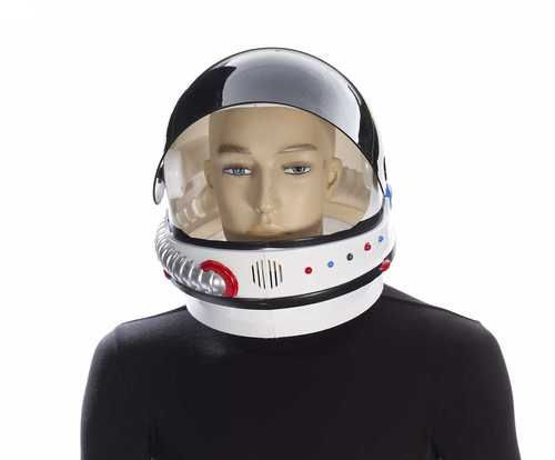 """Adult Astronaut Helmet - It's an astronaut helmet, for your """"out of this world"""" party.   This solid plastic helmet has a tinted plastic visor that opens with a push of a button. The bright orange button is located on the side of the helmet. Push it, and the visor pops open. There are foam cushion pads inside the astronaut helmet for added comfort. The helmet is white, with coloured buttons and silver """"tubing"""" on the front. #astronaut #helmet #yyc #costume"""