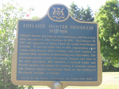 Ontario Historical Plaque for Adelaide Hoodless founder of the Women's Institutes now an  international organiozation