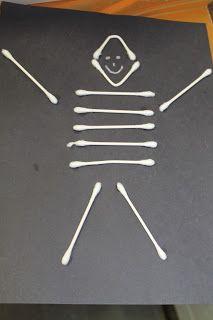 Easy Halloween Craft for Kids: Q-Tip Skeletons
