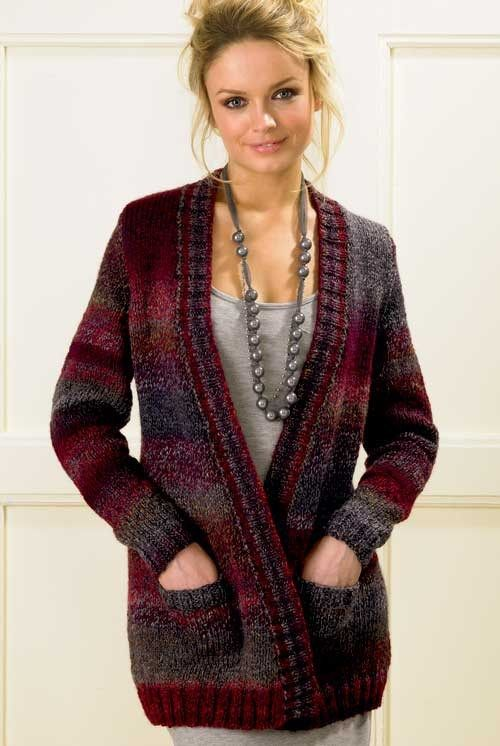 Knitting Patterns Bulky Yarn Sweater : Pocket Cardigan Knitting Pattern in bulky yarn and more cardigan sweater knit...