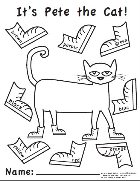 Pete the Cat coloring page | t /t/ teacher {beginning of ...