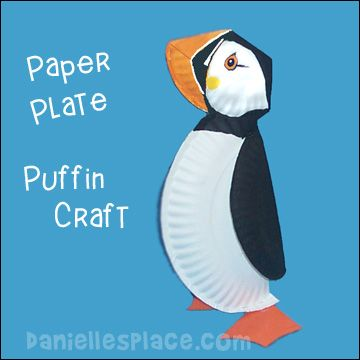 Paper Plate Puffin Craft from www.daniellesplace.com