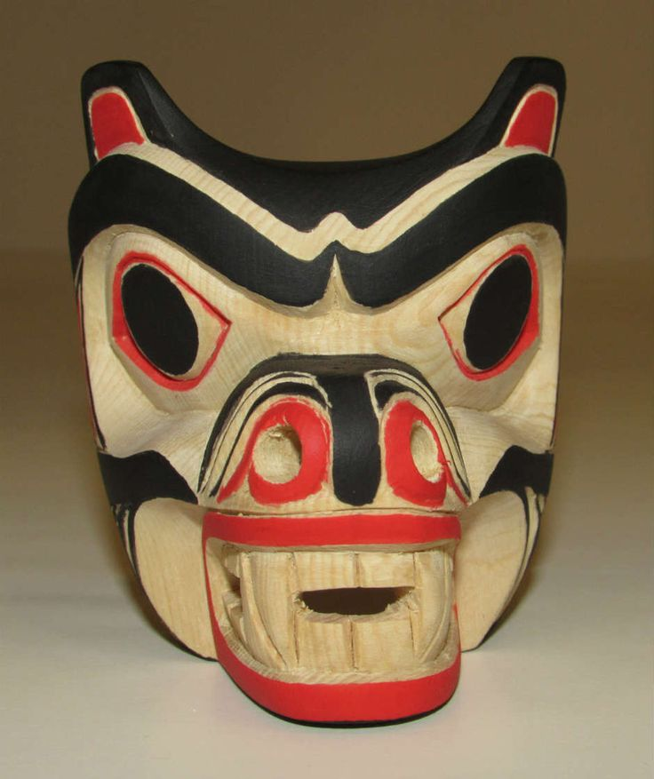 "This little mask was hand carved by Nuu Chah Nulth artist Mark Mickey, from Tofino. The #Bear has fierceness of a warrior and possess supernatural strength. Carved out of yellow cedar. 3"" x 2 3/4"" x 2 1/4 #Northwest #Coast #FirstNations #AboriginalBC http://ihosgallery.com/collections/masks-carvings/products/miniature-bear-mask"