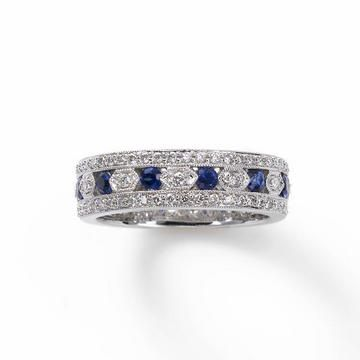 Vintage Sapphire and Diamond Style Band, 18K, Fortunoff Jewelry