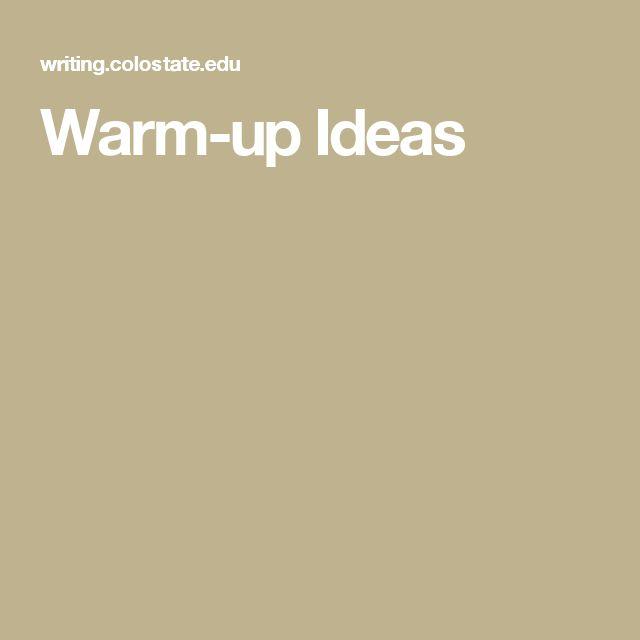 Warm-up Ideas